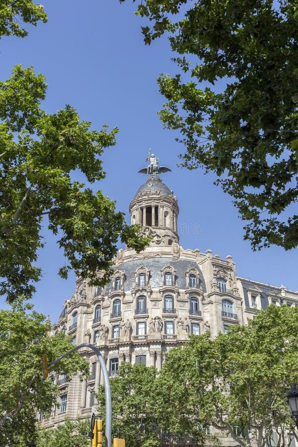 Passeig de Gràcia avenue in Barcelona. Spain royalty free stock photography