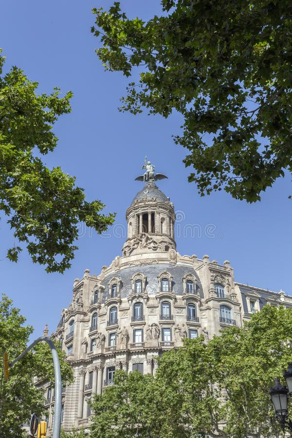 Passeig de Gràcia avenue in Barcelona. Spain stock photography