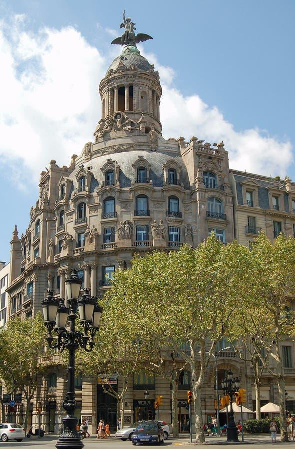 Passeig de Gracia Avenue - Barcelona arkivfoto