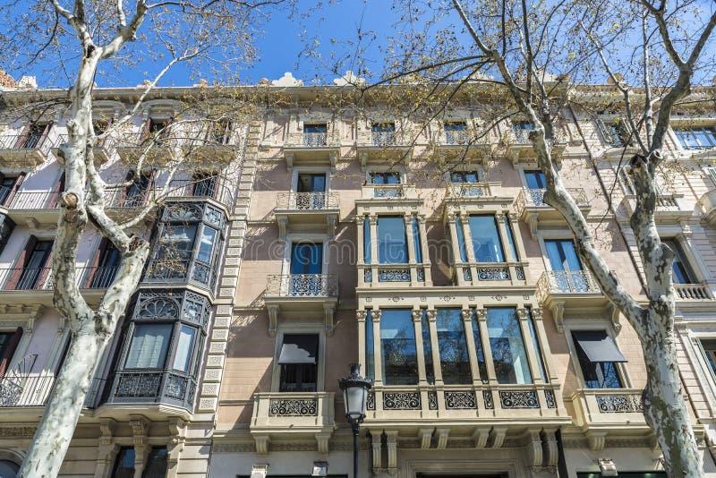 Passeig de Gracia, Barcelona royaltyfria foton