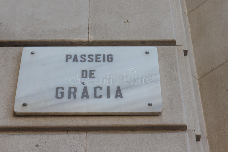 Passeig de Gracia, Barcelona, Spanien royaltyfri bild