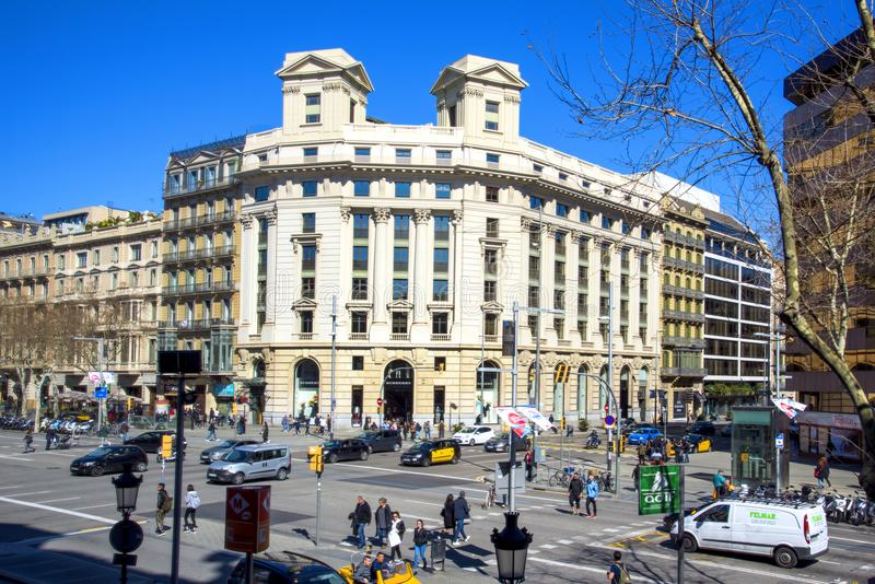 Passeig de Gracia gata i Barcelona, Spanien arkivfoton