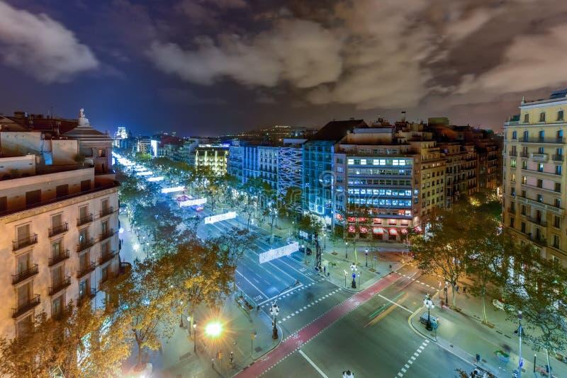 Passeig de Gracia at Night - Barcelona, Spain royalty free stock photography