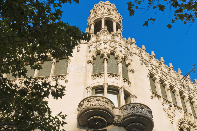 Passeig de gracias street in Barcelona. Building located on Passeig de Gracia at Barcelona, Spain stock photography