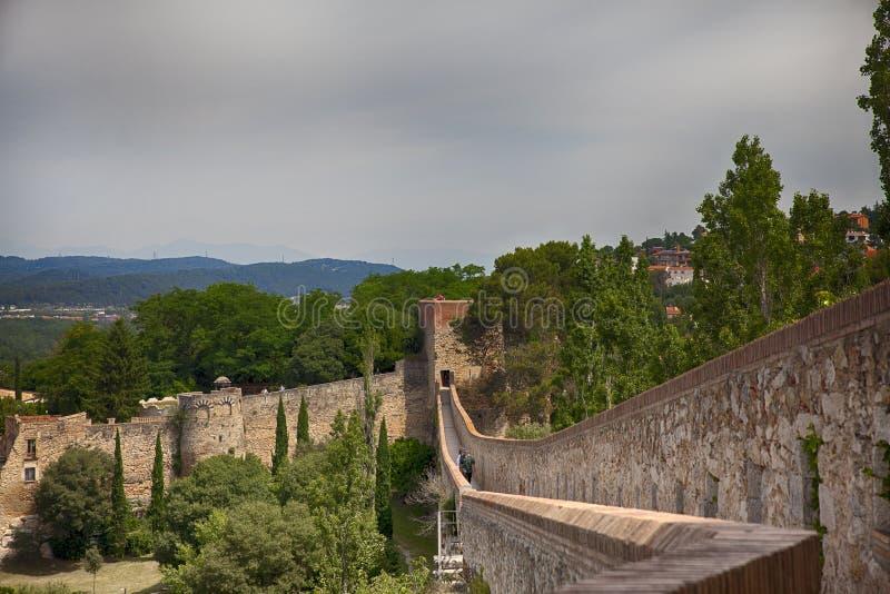 Passeig de la Muralla, Girona. Catalonia, Spain stock image