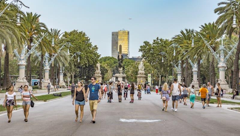 Passeig de Lluis Companys street in Barcelona. BARCELONA, SPAIN - JULY 11, 2016: Passeig de Lluis Companys street of a promenade leading to the Parc de la royalty free stock photography