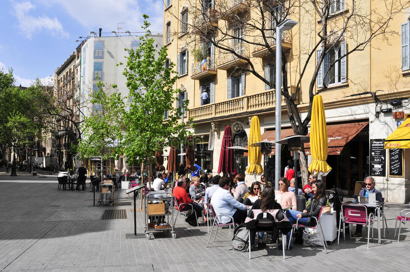 Passeig del Born in Barcelona, Spain. BARCELONA, SPAIN - APRIL 20: People in the restaurant terraces in Passeig del Born on April 20, 2015 in Barcelona, Spain stock photos