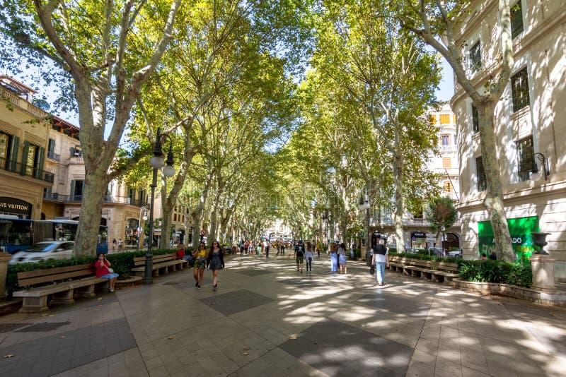 Passeig del Born street in center of Palma, Mallorca, Spain royalty free stock photo
