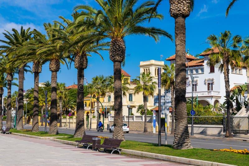 Passeig Jaume i в Salou стоковые фото