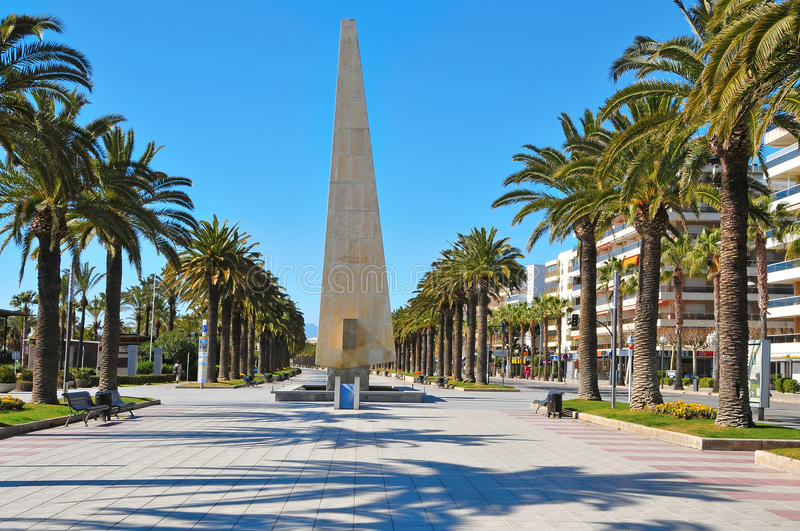 Passeig Jaume I, in Salou, Spain. A view of Passeig Jaume I, in Salou, Spain stock photos