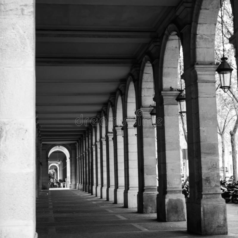 Passeig Picasso de Barcelona. Linear perspective of the arcades of the Passeig Picasso Porch located in the Born district of Barcelona, made by Josep Fontser stock image
