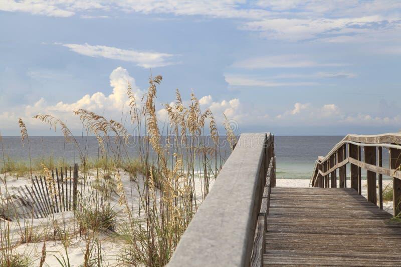 Passeio à beira mar sobre as dunas à praia branca bonita da areia de Florida norte imagens de stock royalty free