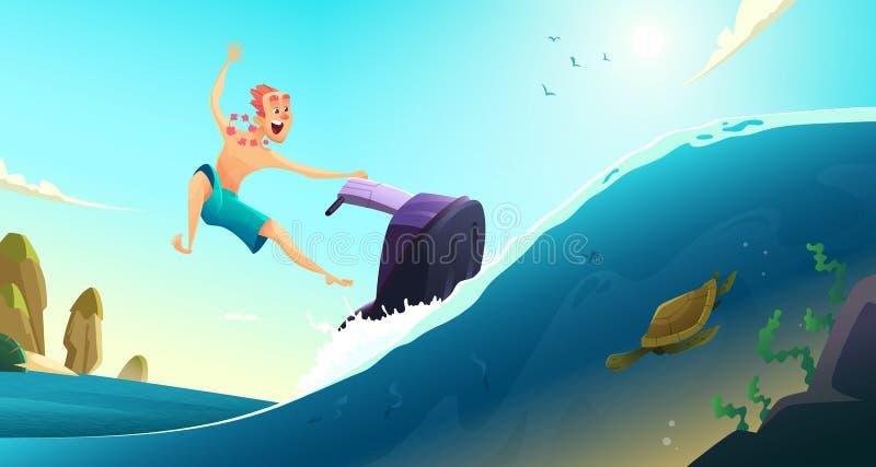 Passeio alegre dos turistas em um 'trotinette' da água Férias de verão em países mornos Ilustração do vetor dos desenhos animados imagens de stock royalty free