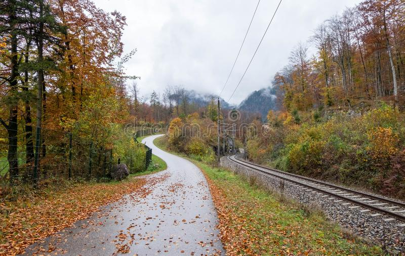 Passeio ao longo da estrada de ferro com o ninguém durante a estação colorida do outono foto de stock