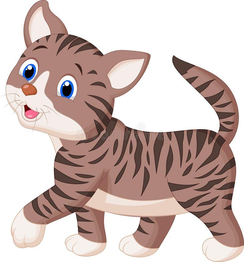 Passeio bonito dos desenhos animados do gato ilustração do vetor