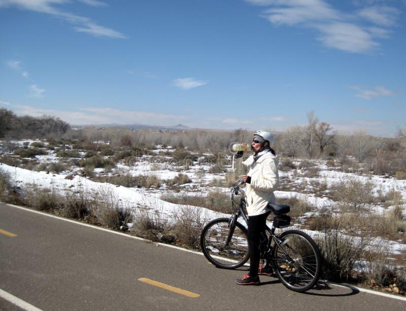 Passeio da bicicleta do inverno fotos de stock