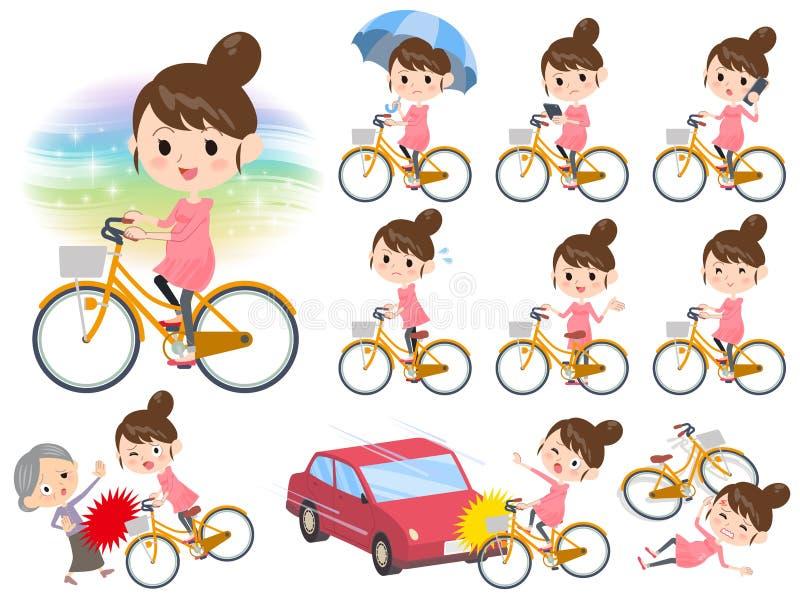 Passeio da mulher gravida na bicicleta da cidade ilustração do vetor