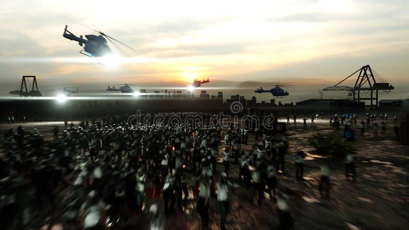 Passeio da multidão do zombi do horror Opinião do apocalipse, conceito rendição 3d ilustração royalty free