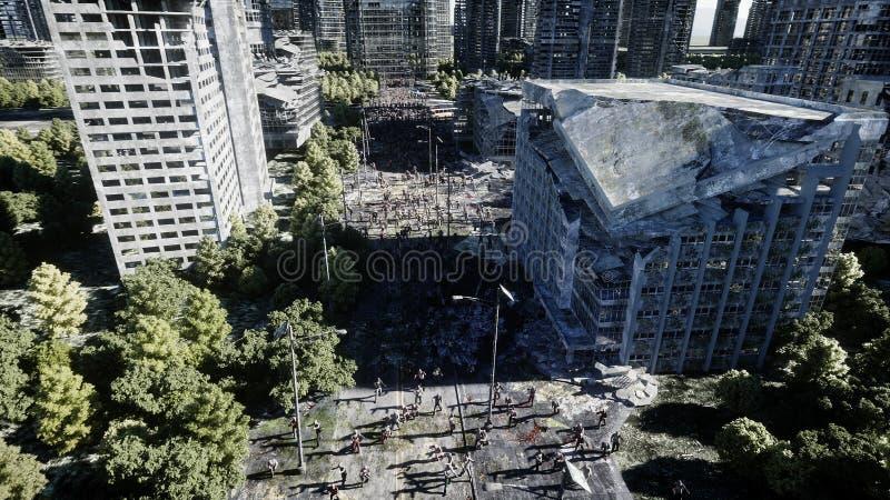 Passeio da multidão do zombi do horror Cidade destruída Opinião do apocalipse, conceito rendição 3d ilustração stock