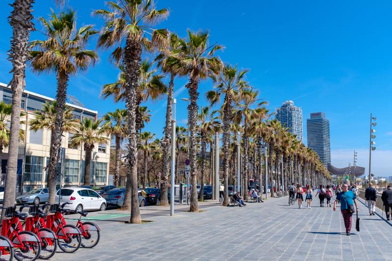 Passeio da praia em Barcelona do centro fotos de stock