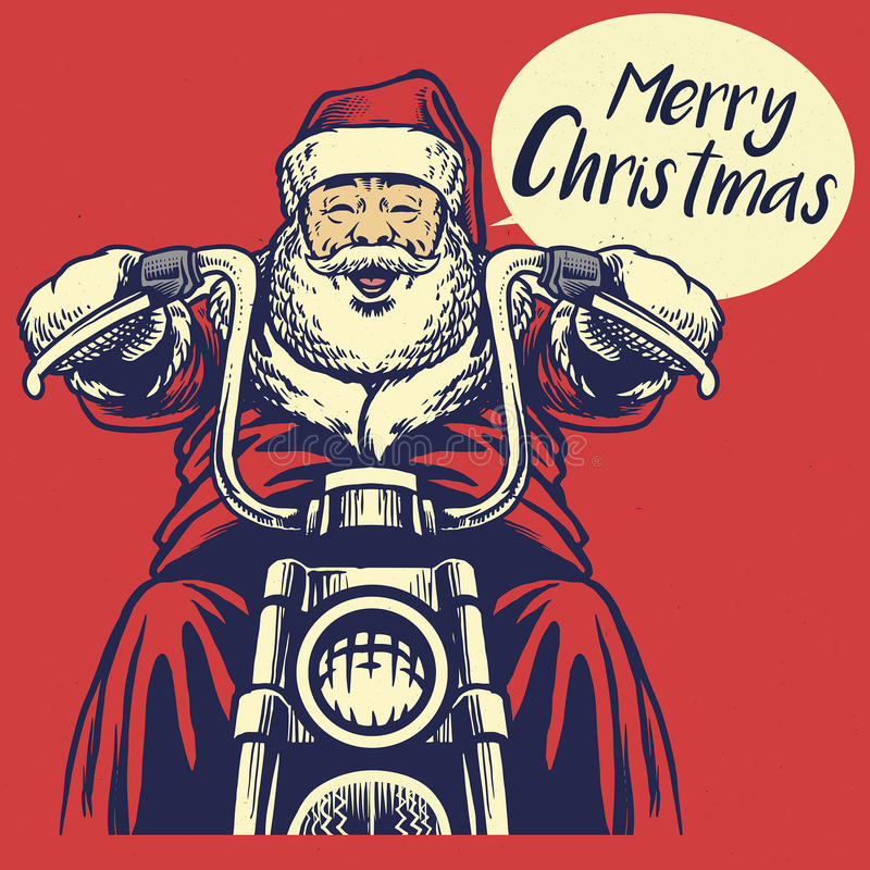 Passeio de Papai Noel uma motocicleta