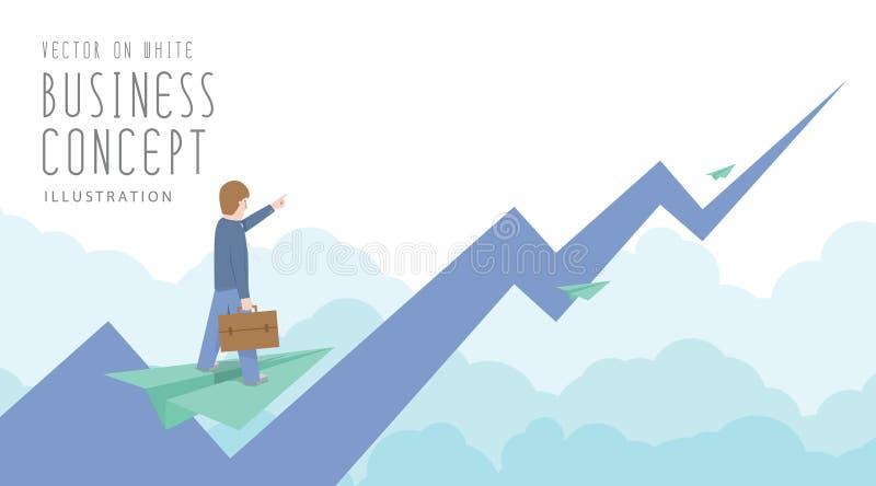 Passeio do homem de negócios no plano de papel à parte superior do mercado de valores de ação f ilustração stock