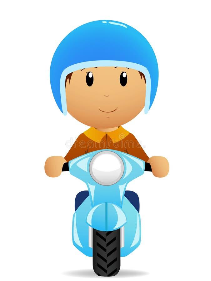 Passeio do homem dos desenhos animados no 'trotinette' do moto ilustração stock