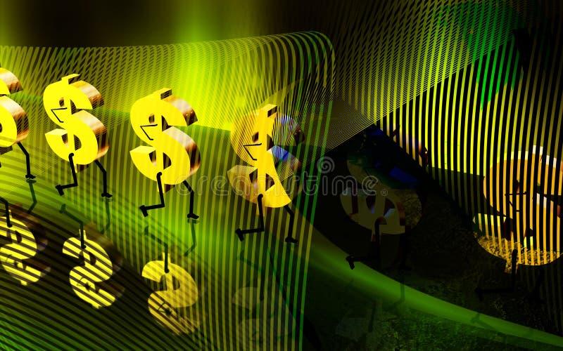 Passeio do sinal de dólar ilustração do vetor