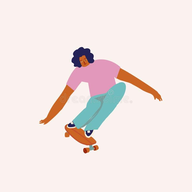 Passeio do skater do menino uma ilustração do patim no vetor Personagem de banda desenhada Skateboarding ilustração stock