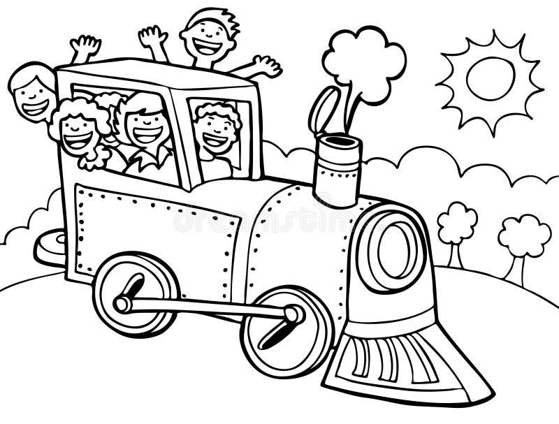 Passeio do trem da criança - preto e branco ilustração do vetor