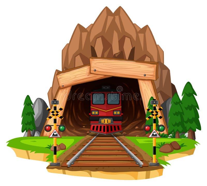 Passeio do trem na trilha através do túnel ilustração stock