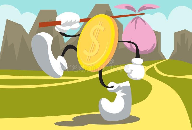 Passeio dourado da moeda ilustração royalty free