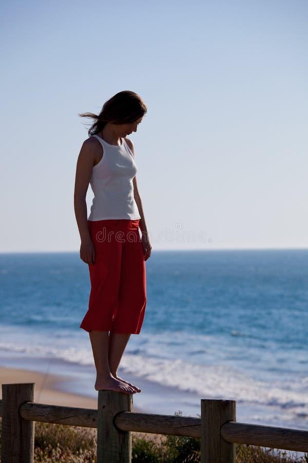Download Passeio Em Uma Cerca De Madeira Foto de Stock - Imagem de corpo, fêmea: 12805628