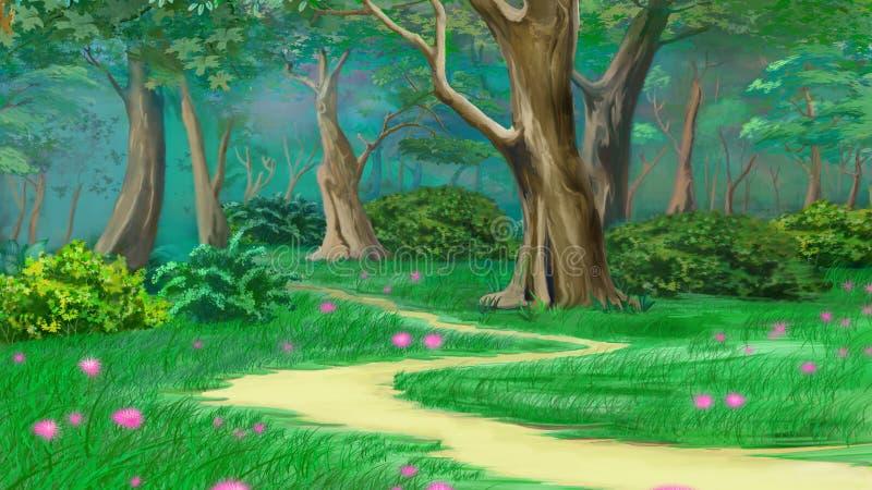 Passeio em uma floresta do verão do verde do conto de fadas ilustração stock