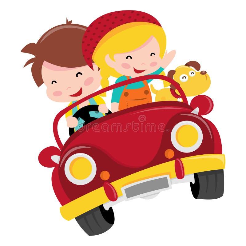 Passeio feliz do carro das crianças ilustração stock