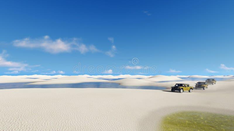 Passeio fora de estrada dos veículos no deserto de Brasil ilustração stock