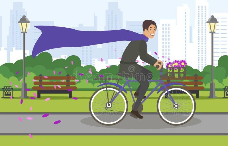 Passeio grande da bicicleta da cidade das ruas da vista através do parque ilustração do vetor