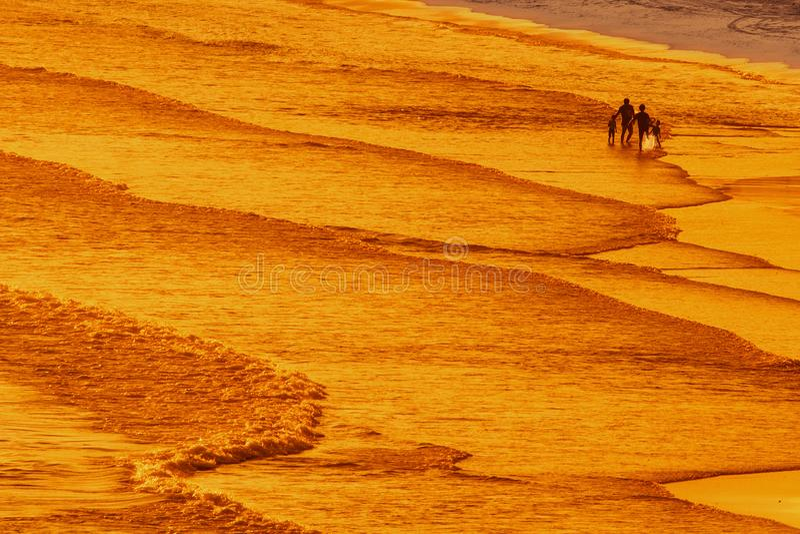Passeio na praia do mar fotografia de stock