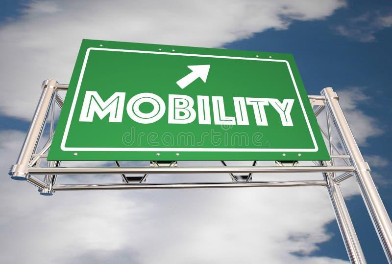 Passeio novo do transporte do sinal da autoestrada da mobilidade que compartilha de 3d Illustr ilustração do vetor