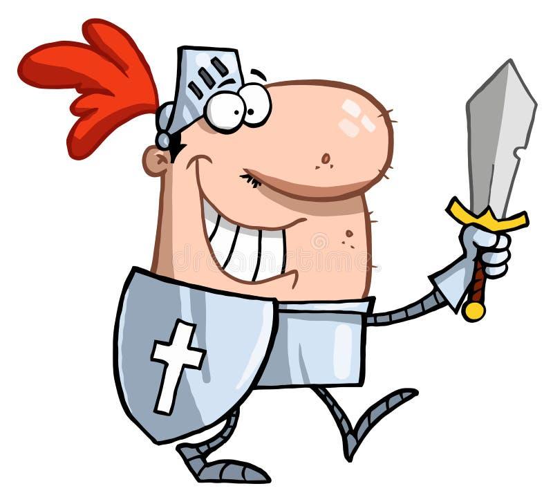 Passeio orgulhoso do cavaleiro alto em sua armadura ilustração royalty free