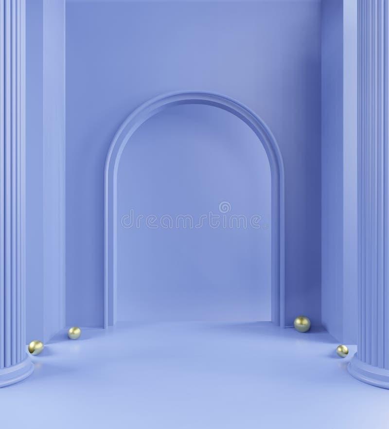 passeio pastel, fundo azul colorido, mínimo monocromático pastel, ninguém, espaço de cópia ilustração royalty free