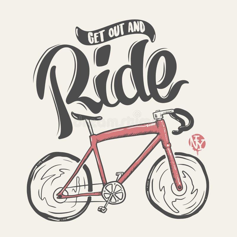 Passeio tirado mão da rotulação da bicicleta, cópia do t-shirt ilustração royalty free