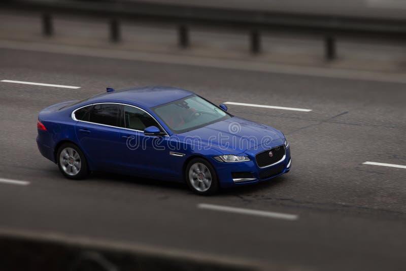 Passeios azuis do jaguar na estrada Contra um fundo de ?rvores borradas fotos de stock royalty free