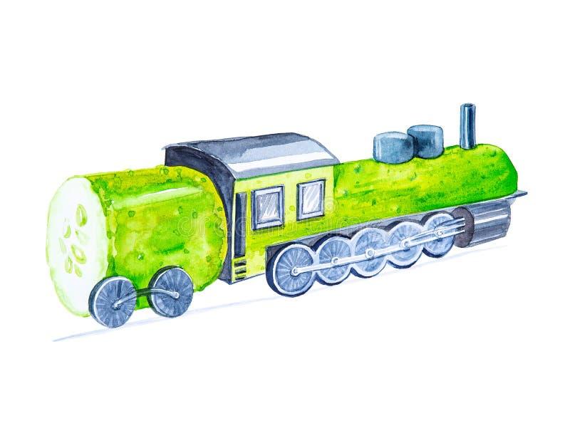Passeios c?micos do pepino da locomotiva de vapor da ilustra??o da aquarela nos trilhos Isolado no fundo branco fotografia de stock royalty free