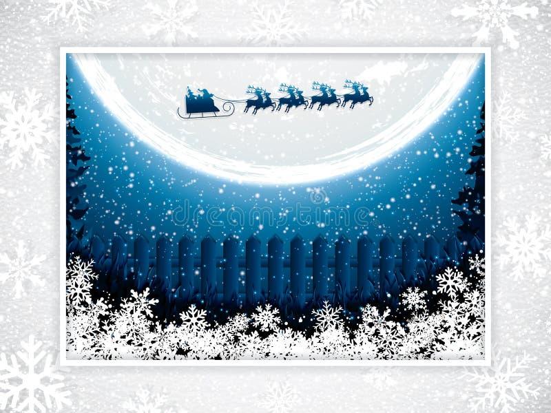 Passeios de Papai Noel em um trenó da rena ilustração stock