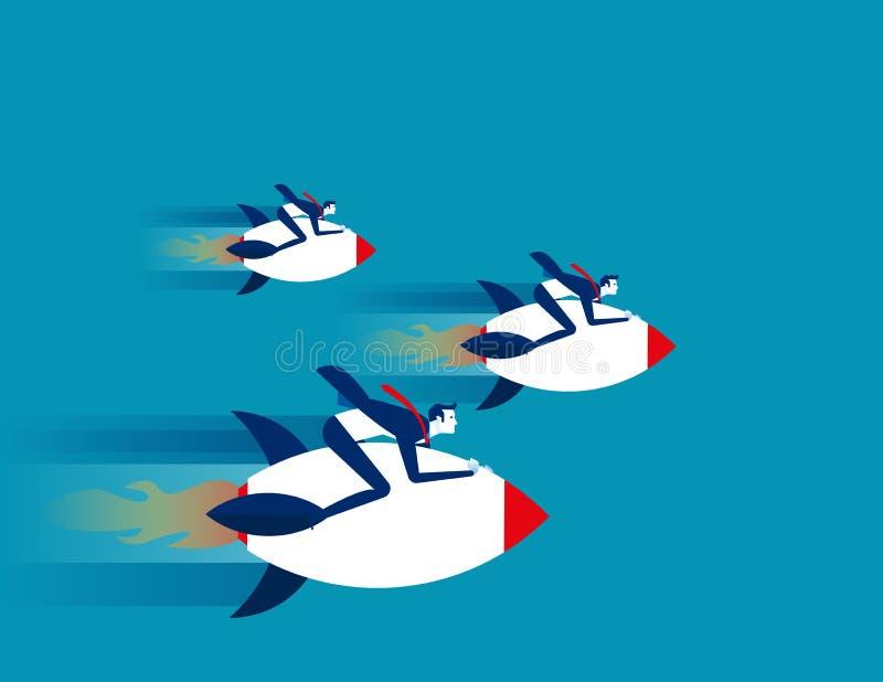 Passeios do foguete do homem de negócios Vetor do sucesso comercial do conceito ilustração do vetor