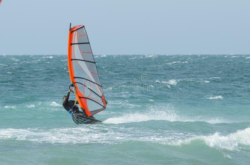 Passeios do Windsurfer no Mar Negro Anapa, R?ssia foto de stock royalty free