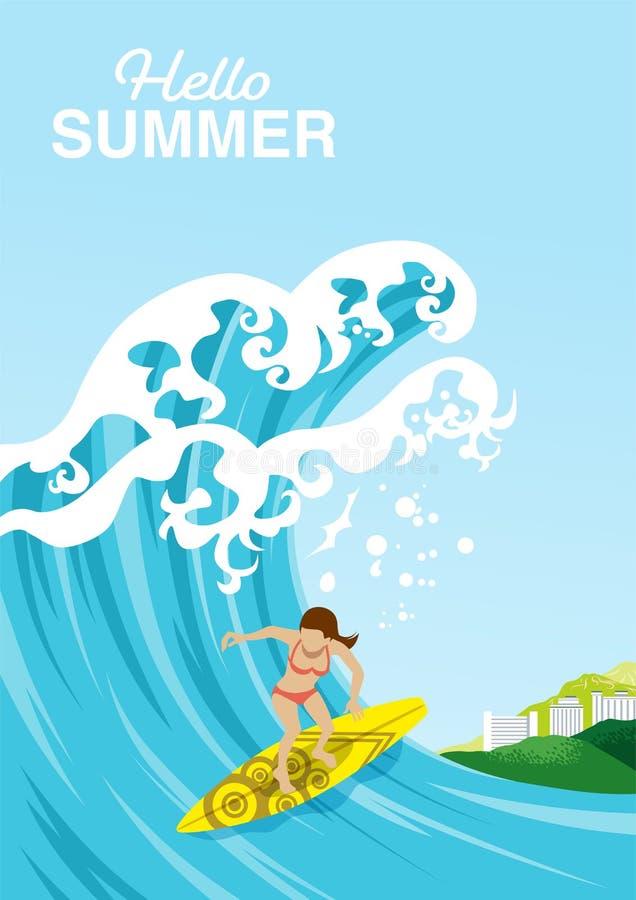 """Passeios fêmeas em uma onda grande no oceano do verão - verão incluído do surfista do """"Hello das palavras ilustração royalty free"""