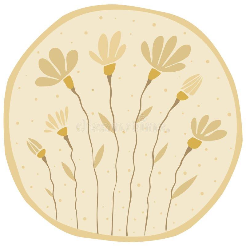 Passen Sie eine gelbe Blume auf schwach braunem Hintergrund zusammen vektor abbildung