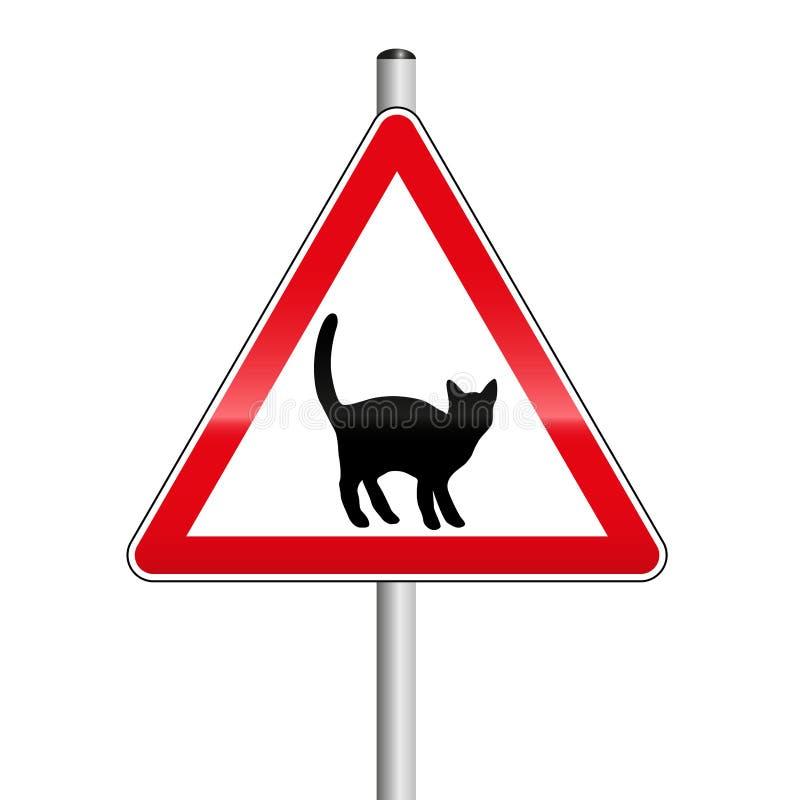 Passen Sie von Cat Caution Street Sign auf vektor abbildung